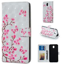 Butterfly Sakura Flower 3D Painted Leather Phone Wallet Case for Samsung Galaxy J7 2017 J730 Eurasian