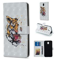 Toothed Tiger 3D Painted Leather Phone Wallet Case for Samsung Galaxy J7 2017 J730 Eurasian