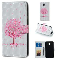 Sakura Flower Tree 3D Painted Leather Phone Wallet Case for Samsung Galaxy J7 2017 J730 Eurasian