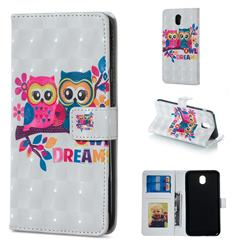 Couple Owl 3D Painted Leather Phone Wallet Case for Samsung Galaxy J7 2017 J730 Eurasian