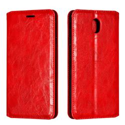 Retro Slim Magnetic Crazy Horse PU Leather Wallet Case for Samsung Galaxy J7 2017 J730 Eurasian - Red