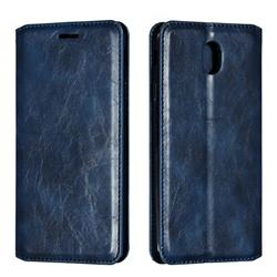 Retro Slim Magnetic Crazy Horse PU Leather Wallet Case for Samsung Galaxy J7 2017 J730 Eurasian - Blue