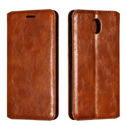 Retro Slim Magnetic Crazy Horse PU Leather Wallet Case for Samsung Galaxy J7 2017 J730 Eurasian - Brown