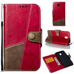 Retro Magnetic Stitching Wallet Flip Cover for Samsung Galaxy J7 2017 J730 Eurasian - Rose Red