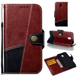 Retro Magnetic Stitching Wallet Flip Cover for Samsung Galaxy J7 2017 J730 Eurasian - Dark Red