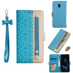 Luxury Lace Zipper Stitching Leather Phone Wallet Case for Samsung Galaxy J7 2017 J730 Eurasian - Blue