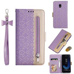 Luxury Lace Zipper Stitching Leather Phone Wallet Case for Samsung Galaxy J7 2017 J730 Eurasian - Purple
