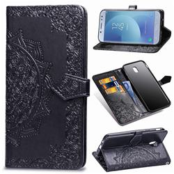 Embossing Imprint Mandala Flower Leather Wallet Case for Samsung Galaxy J7 2017 J730 Eurasian - Black