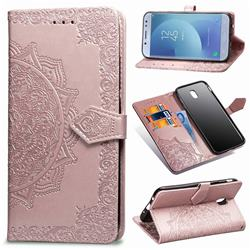 Embossing Imprint Mandala Flower Leather Wallet Case for Samsung Galaxy J7 2017 J730 Eurasian - Rose Gold