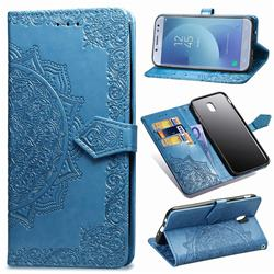 Embossing Imprint Mandala Flower Leather Wallet Case for Samsung Galaxy J7 2017 J730 Eurasian - Blue