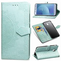 Embossing Imprint Mandala Flower Leather Wallet Case for Samsung Galaxy J7 2017 J730 Eurasian - Green