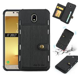 Brush Multi-function Leather Phone Case for Samsung Galaxy J7 2017 J730 Eurasian - Black