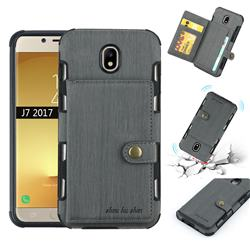 Brush Multi-function Leather Phone Case for Samsung Galaxy J7 2017 J730 Eurasian - Gray