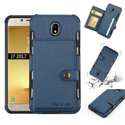 Brush Multi-function Leather Phone Case for Samsung Galaxy J7 2017 J730 Eurasian - Blue
