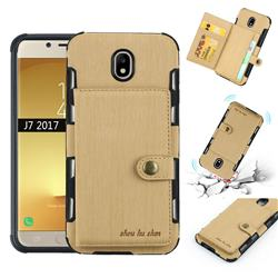 Brush Multi-function Leather Phone Case for Samsung Galaxy J7 2017 J730 Eurasian - Golden