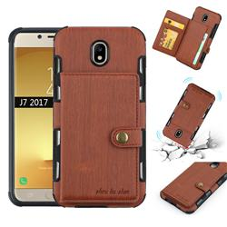 Brush Multi-function Leather Phone Case for Samsung Galaxy J7 2017 J730 Eurasian - Brown