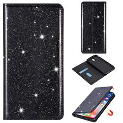 Ultra Slim Glitter Powder Magnetic Automatic Suction Leather Wallet Case for Samsung Galaxy J7 2017 J730 Eurasian - Black