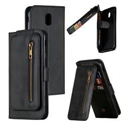 Multifunction 9 Cards Leather Zipper Wallet Phone Case for Samsung Galaxy J7 2017 J730 Eurasian - Black