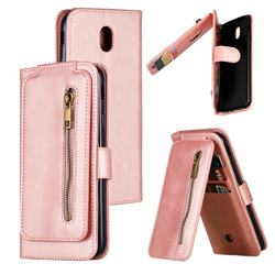 Multifunction 9 Cards Leather Zipper Wallet Phone Case for Samsung Galaxy J7 2017 J730 Eurasian - Rose Gold