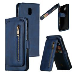 Multifunction 9 Cards Leather Zipper Wallet Phone Case for Samsung Galaxy J7 2017 J730 Eurasian - Blue