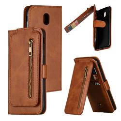 Multifunction 9 Cards Leather Zipper Wallet Phone Case for Samsung Galaxy J7 2017 J730 Eurasian - Brown