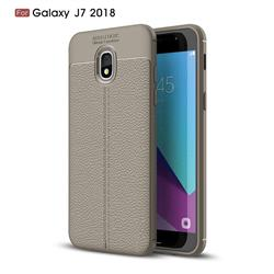 Luxury Auto Focus Litchi Texture Silicone TPU Back Cover for Samsung Galaxy J7 (2018) - Gray