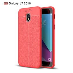 Luxury Auto Focus Litchi Texture Silicone TPU Back Cover for Samsung Galaxy J7 (2018) - Red