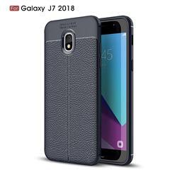 Luxury Auto Focus Litchi Texture Silicone TPU Back Cover for Samsung Galaxy J7 (2018) - Dark Blue