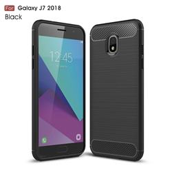 Luxury Carbon Fiber Brushed Wire Drawing Silicone TPU Back Cover for Samsung Galaxy J7 (2018) - Black