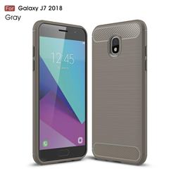 Luxury Carbon Fiber Brushed Wire Drawing Silicone TPU Back Cover for Samsung Galaxy J7 (2018) - Gray