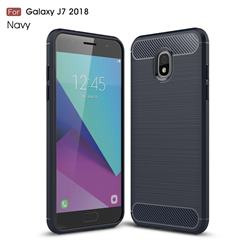 Luxury Carbon Fiber Brushed Wire Drawing Silicone TPU Back Cover for Samsung Galaxy J7 (2018) - Navy