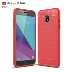 Luxury Carbon Fiber Brushed Wire Drawing Silicone TPU Back Cover for Samsung Galaxy J7 (2018) - Red