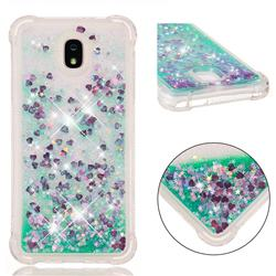 Dynamic Liquid Glitter Sand Quicksand TPU Case for Samsung Galaxy J7 (2018) - Green Love Heart