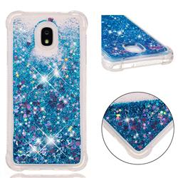 Dynamic Liquid Glitter Sand Quicksand TPU Case for Samsung Galaxy J7 (2018) - Blue Love Heart