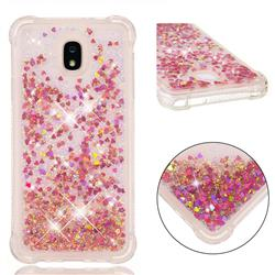 Dynamic Liquid Glitter Sand Quicksand TPU Case for Samsung Galaxy J7 (2018) - Rose Gold Love Heart