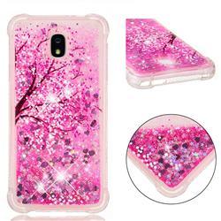 Pink Cherry Blossom Dynamic Liquid Glitter Sand Quicksand Star TPU Case for Samsung Galaxy J7 (2018)