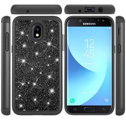 Glitter Rhinestone Bling Shock Absorbing Hybrid Defender Rugged Phone Case Cover for Samsung Galaxy J7 (2018) - Black
