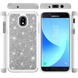 Glitter Rhinestone Bling Shock Absorbing Hybrid Defender Rugged Phone Case Cover for Samsung Galaxy J7 (2018) - Gray