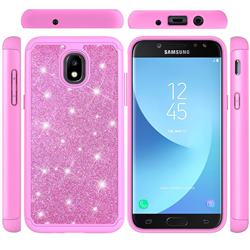 Glitter Rhinestone Bling Shock Absorbing Hybrid Defender Rugged Phone Case Cover for Samsung Galaxy J7 (2018) - Pink