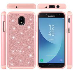 Glitter Rhinestone Bling Shock Absorbing Hybrid Defender Rugged Phone Case Cover for Samsung Galaxy J7 (2018) - Rose Gold