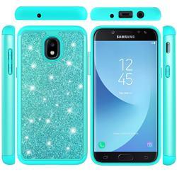 Glitter Rhinestone Bling Shock Absorbing Hybrid Defender Rugged Phone Case Cover for Samsung Galaxy J7 (2018) - Green