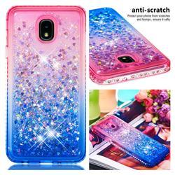 Diamond Frame Liquid Glitter Quicksand Sequins Phone Case for Samsung Galaxy J7 (2018) - Pink Blue