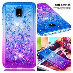 Diamond Frame Liquid Glitter Quicksand Sequins Phone Case for Samsung Galaxy J7 (2018) - Blue Purple