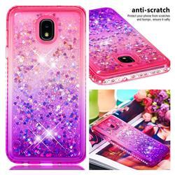 Diamond Frame Liquid Glitter Quicksand Sequins Phone Case for Samsung Galaxy J7 (2018) - Pink Purple