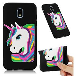 Rainbow Unicorn Soft 3D Silicone Case for Samsung Galaxy J7 (2018) - Black