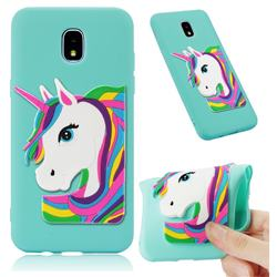 Rainbow Unicorn Soft 3D Silicone Case for Samsung Galaxy J7 (2018) - Sky Blue