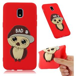 Bad Boy Owl Soft 3D Silicone Case for Samsung Galaxy J7 (2018) - Red