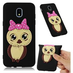 Bowknot Girl Owl Soft 3D Silicone Case for Samsung Galaxy J7 (2018) - Black