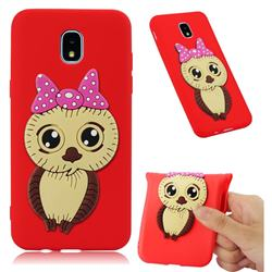 Bowknot Girl Owl Soft 3D Silicone Case for Samsung Galaxy J7 (2018) - Red