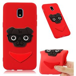 Glasses Dog Soft 3D Silicone Case for Samsung Galaxy J7 (2018) - Red